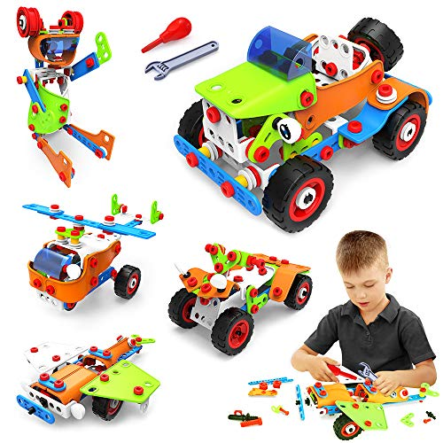 VATOS STEM Toys Building Toys 165 PCS Educational Toys for 4 5 6 7 8 9 Year Old Boys Learning Toy Construction Kit Engineering Fun Montessori Toys for Boys amp Girls Best Birthday Toy for Kids