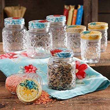 The Pioneer Woman Betsy 8-Ounce and 16-Ounce Storage Glass Jar Set, Set of 8