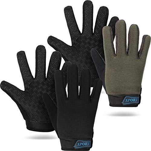 2 Pairs Kids Cycling Gloves Children Sport Gloves Full Finger Fishing Gloves Breathable Non-Slip Children Bike Gloves for Outdoor Sports Hiking Riding Fishing Climbing (Army Green, Black)