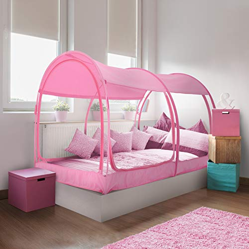 Alvantor Mosquito Net Bed Canopy Tents Dream Tents Privacy Space Twin Size Sleeping Tents Indoor Pop Up Portable Frame Breathable Cottage Pink (Mattress Not Included)