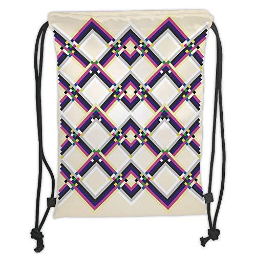 Fevthmii Drawstring Backpacks Bags,Abstract,Geometric Digital Pattern Square and Diamond Shaped Linked Figures Print Decorative,Magenta Cream Purple Soft Satin,5 Liter Capacity,Adjustable S