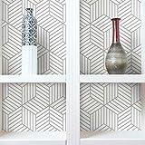 RoomMates RMK10707WP - Papel Tapiz Hexagonal, Despegar y Pegar, 20.5' x 16.5 pies/ 28.18 pies cuadrados, color Blanco/Gris