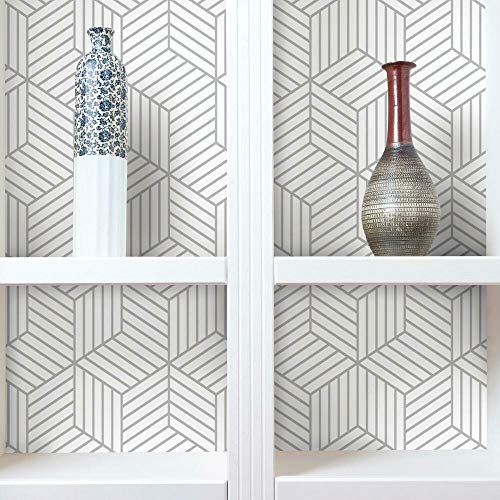 RoomMates Gray Striped Hexagon Peel and Stick Wallpaper, 20.5' x 16.5 Feet - RMK10705WP