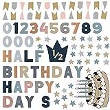 ハーフバースデー☆シール式ウォールステッカー 1/2 誕生日 ウォールステッカー 飾り 30×30cm シール式 ケーキ ガーランド バースデーパーティ飾り 風船 バルーン 壁紙 お祝い パーティ DIY Anniversary おしゃれ 暖色 ガーランド 017145