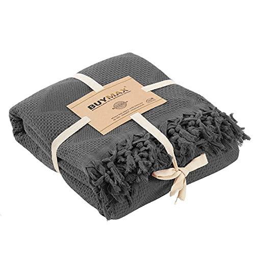 Pique Tagesdecke 220x240 cm Waffeloptik mit Fransen 100prozent Baumwolle Überwurf Sofadecke Baumwolldecke Wohndecke Quilt Pikee Uni Einfarbig, Farbe Anthrazit Grau