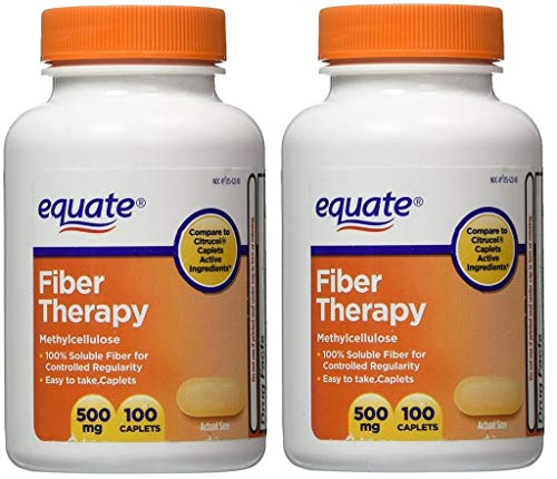 Equate Fiber Therapy For Regularity Fiber Supplement Caplets, 500mg, 100-Count Bottle (Pack of 2)