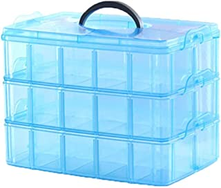 Mitravadan 3 Layers, 30 Grids, Transparent Plastic Jewellery Organizer Storage Compartment Box for Girls (Pack of 1-Multi Color)