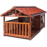Macro Outdoor solid wood dog house Outdoor kennel rainproof large dog dog cage house type wooden kennel keep warm in winter