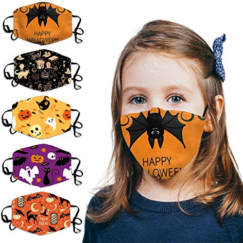 Known 5Pcs Halloween Kids Face_Mask Reusable Washable Adjustable Ear Loops Funny Bandanas Back to School