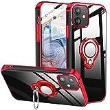 BOMIZI Cover per iPhone 12, Cover iPhone12 PRO da 6,1', Custodia Trasparente Silicone TPU con 360 Gradi Anello Girevole per Supporto Magnetico Auto, Antiurto AntiGraffio Protettiva Case - Rosso