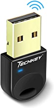 Techkey Adapter Compatible with Bluetooth for PC USB Dongle for Bluetooth Laptop Computer Desktop Stereo Music, Skype Call, Keyboard, Mouse, Support All Windows 10 8.1 8 7 XP Vista