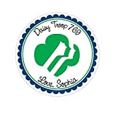 Personalized Customized Stickers - Girl Scout - Round Labels - Choose Your Size