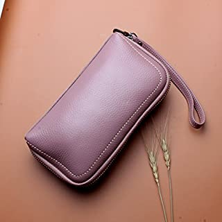 Leather Women's Wallet with A Cowhide Leather Cosmetic Wallet Leather Long Wallet Waterproof (Color : Pink, Size : S)
