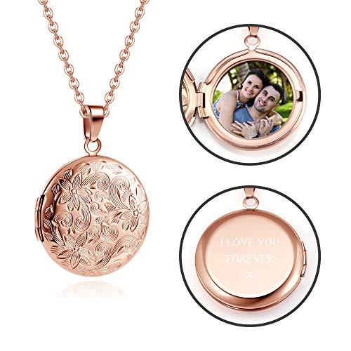 Zysta Personalized Text & Fotogravur- Medaillon zum öffnen für Bilder Vintage Charms Anhänger mit Gravur Amulett Halskette für Damen Herren (Rosegold- Rund Anhänger)