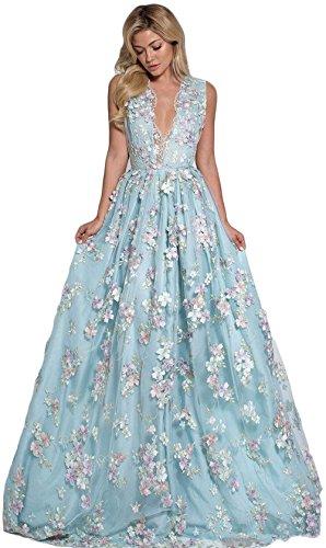 Fenghuavip Deep V Neck Formal Gowns Handmade Flowers Party Evening Dresses Blue (Apparel)