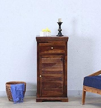 Shilpi Sheesham Wood Bedside Wooden Cabinet with 1 Drawers Teak Finish