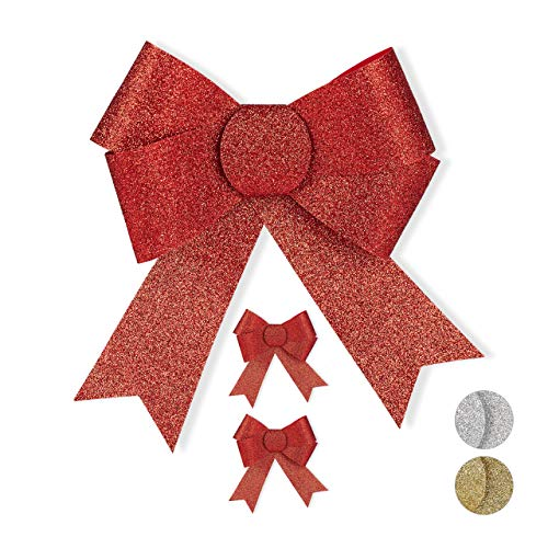 Relaxdays Geschenkschleife Glitzer, 3er Set, große Zierschleife Geburtstag, Weihnachten, Dekoschleifen für Geschenk, rot