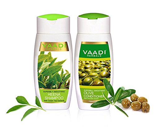 Superbly Smoothing Heena Shampoo with Olive Conditioner ALL Natural Paraben Free Suitable for All Hair Types 2 X 110 ML