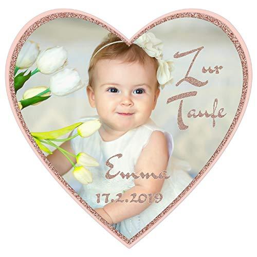 Tortenaufleger Tortenbild Taufe Herzform Glitzer rosa Mädchen Wunschtext Foto essbar Ø 20cm 625
