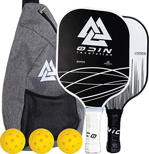Odin Pickleball Paddle Set - 2 Premium Graphite Polypropylene Honeycomb Core Paddles - 3 Wiffle Balls Ultra Cushion Grip - Raquet Cover Case Bag - Gift for Men Women Kids Indoor Outdoor Accessories