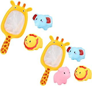 TOYANDONA Baby Bathtub Toys Elephant Lion Animal Tub Water Toys Fish Catch Nets Shower Playing Favors for Toddler Kids 7pcs