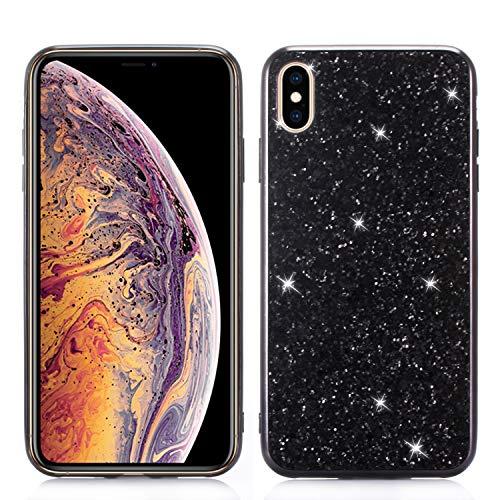 Yobby Bling Glitzer Funkeln Hülle für iPhone XR 6.1 inch,iPhone XR Handyhülle Mode Design,Hart PC Zurück + Stoßfest TPU Bumper Schutzhülle-Schwarz