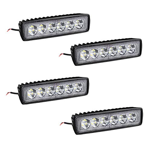 4 X 18W LED Arbeitsscheinwerfer Light Bar Arbeitslicht – LED Zusatzscheinwerfer IP67 Aluminium für Reflektor Offroad Agrar Traktor