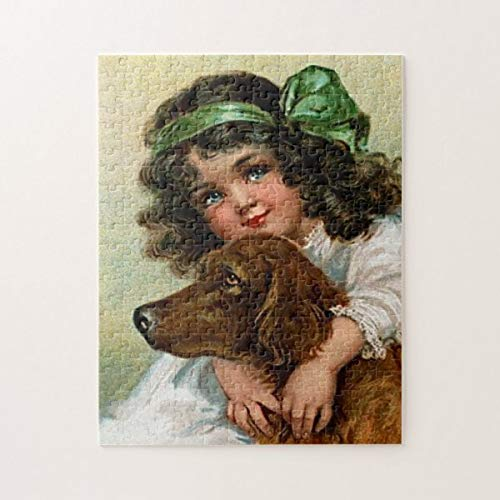 CICIDI Frances Brundage: Girl with Dog Jigsaw Puzzle 1000 Pieces for Adult Entertainment DIY Toys , Graet Gift Home Decor