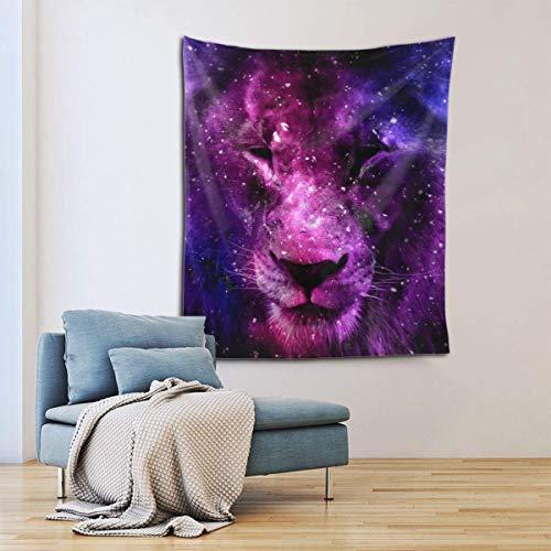 Tapiz para colgar en la pared, diseño de león en el cielo estrellado, decoración del hogar para sala de estar, dormitorio, decoración de dormitorio en 156 x 150 cm