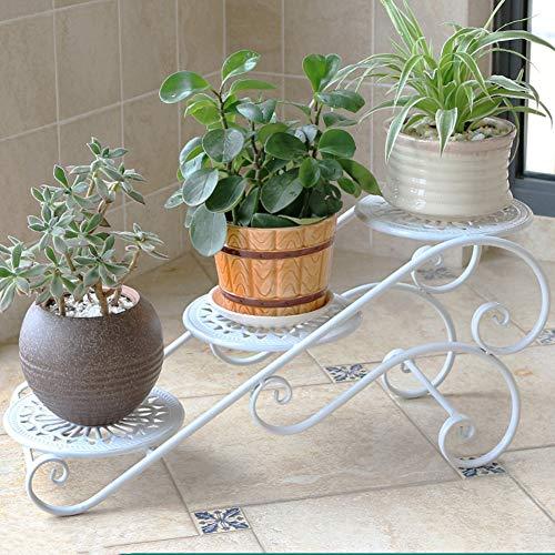 Fleur Pot Stand Plant Stand Fleur Rack en Fer Forgé Fleur Plateau Multi-Balcon Salon Fleur Pot Rack Tingting (Couleur : Blanc, Taille : 3)
