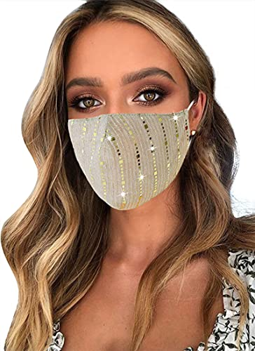 Sparkly Glitter Face Mask, Halloween Party Nightclub Reusable Bling Cotton Mask for Women (#Gold)