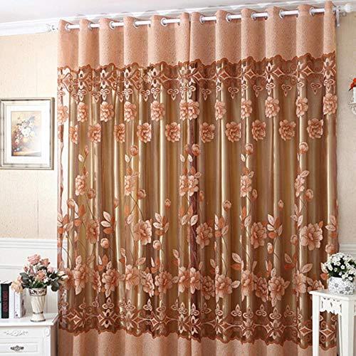 250cm x 100cm bloem tule deur raam gordijn gordijn paneel pure sjaal valletjes gordijnen 4 kleuren, geel zonder kralen, zie hieronder voor beschrijvingen van de grootte