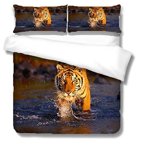 Bettbezug Set,Bettwäsche 3D Tiger Print Baumwolle Soft Quilt Cover Kissen Versteckter Reißverschluss Winter Leicht Atmungsaktiv-Single-Double-King-Super King, Double (200X200Cm)