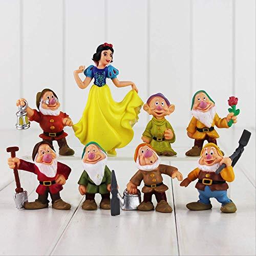 HOU&PR Prinzessin Schneewittchen und die Sieben Zwerge Figur Spielzeug 5-10cm Mini Model Doll für Kinder 8pcs