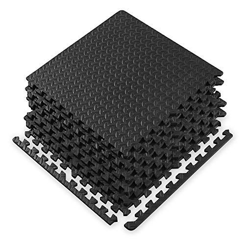 Gaiam Essentials Interlocking Exercise Mat - Square Puzzle Foam Tiles Home Gym Fitness Mat Workout Flooring | Multi-Purpose Use in Garage, Basement, Kids/Baby Play Areas | 23.5