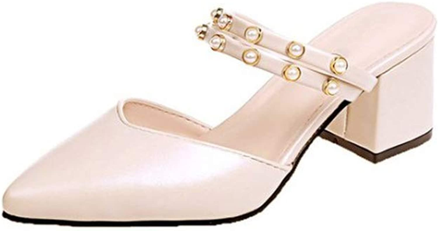 Square Heel Women shoes Slip On Mules Slides Pearl Bead Pointed Toe Mid Heel shoes