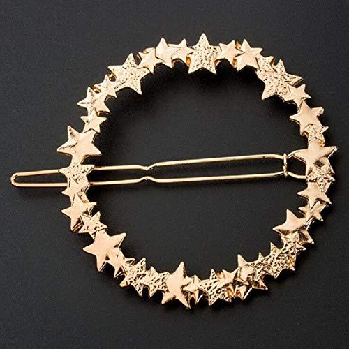 Elegante ronde sterren haarspeld vrouwen luxe metalen haarspeld charme glanzende legering haar ring mode meisje hoofdwear haaraccessoires goud