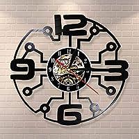 Dkzguqヴィンテージビニールレコード大きな数字の壁時計現代の壁アート未来的な家の装飾リビングルーム壁時計新築祝いのギフト