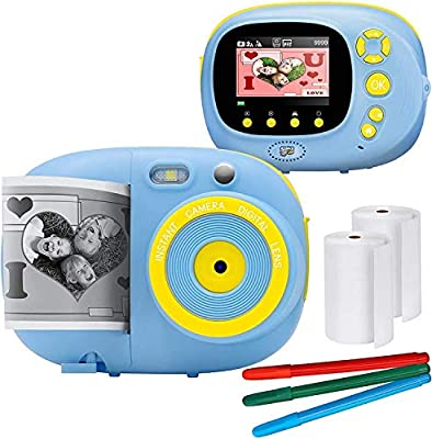 Instant Print Camera for Kids Camera Toys with WiFi + Printer Paper + Color Brush + Painting Book,Carrying Case,Assorted Frames by GordVE