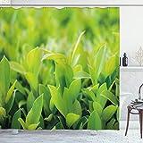 ABAKUHAUS Pflanze Duschvorhang, Üppige grüne Blätter, mit 12 Ringe Set Wasserdicht Stielvoll Modern Farbfest & Schimmel Resistent, 175x220 cm, Apfelgrün