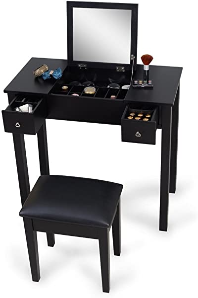 Organizedlife Makeup Vanity Table With Bench Mirror Dressing Table