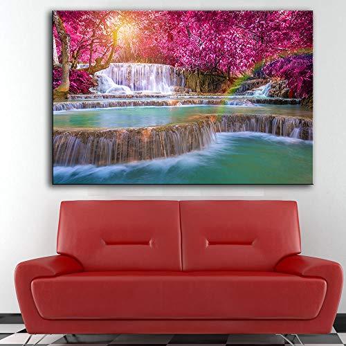 KWzEQ Imprimir en Lienzo Cartel de la Cascada de otoño e imágenes Decorativas para la decoración del hogar de la Sala de estar75x113cmPintura sin Marco