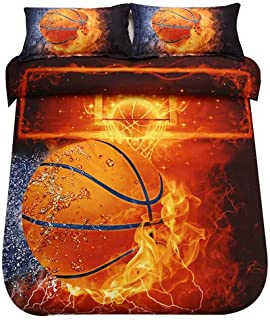 SDIII 2PC Basketball Bedding Microfiber Twin Sport Duvet Cover Set for Boys, Girls and Teens