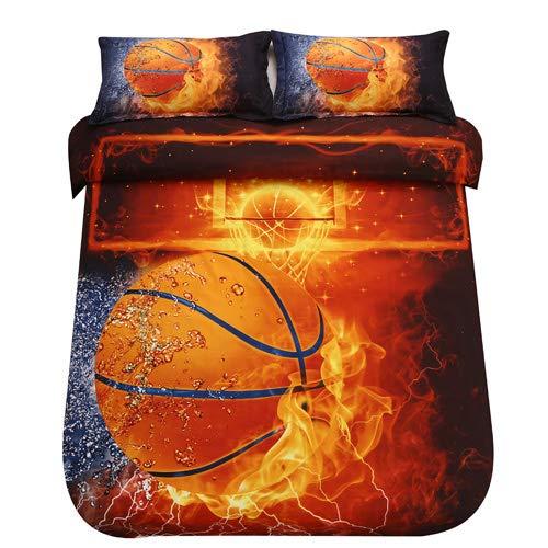 SDIII 3PC Basketball Bedding Microfiber Full/Queen Sport Duvet Cover Set for Boys, Girls and Teens