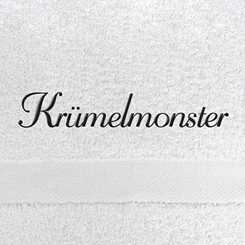 Handtuch mit Namen Krümelmonster bestickt, 50x100 cm, weiß, extra flauschige 550 g/qm Baumwolle (100%), Badetuch mit Namen besticken, Duschtuch mit Bestickung