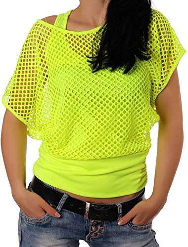 Smile Fish Women Casual Sexy 80s Costumes Fishnet Neon Off Shoulder T-Shirt (Neon-Green US 6-8/Tag Size M)