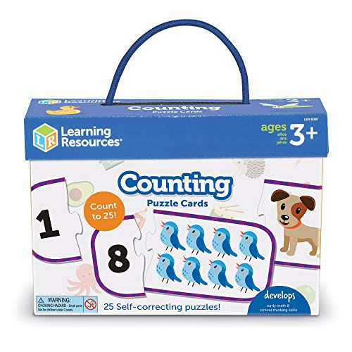 Learning Resources Counting Puzzle Cards, Kindergarten Readniness, Self Correcting Puzzles, Ages 4+Color, Multi