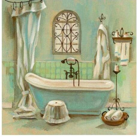 Taladro redondo completo 5D DIY diamante pintura'baño bañera escénica' 3D bordado punto de cruz 5D decoración del hogar regalo A1 45x60cm