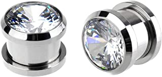 Briana Williams 1 Par Enchufe de Oreja Gauges Acero Inoxidable con Diamante Tornilo Expandores de Oreja Expansión del túne...