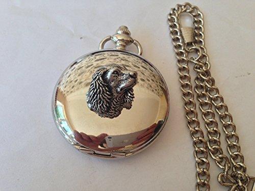 A24 Sm Spaniel 's Head caja de plata pulida para hombre regalo cuarzo reloj de bolsillo hecho en Sheffield